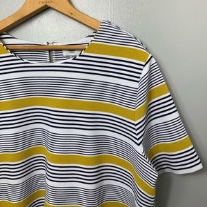 OLD NAVY Navy and Yellow Striped Boxy Tee